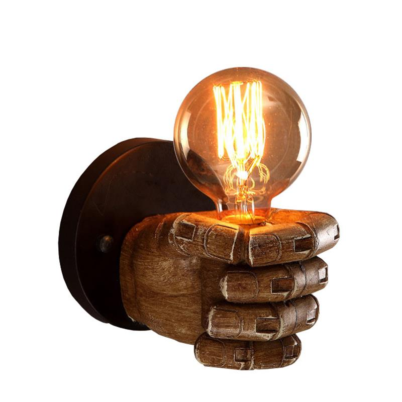 Novelty Fist Retro industry Wall Restaurant Bar Cafe fist resin wall lamp bedroom bedside wall sconces lighting free shipping retro left hand wall sconces lights fixtures brown color bedroom fist wall lamps