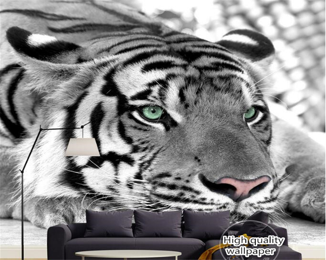 Us 93 38 Offbeibehang Papel De Parede Classic Personality Senior Waterproof Wallpaper Black And White Tiger Tiger Murals Tv Background Wall In