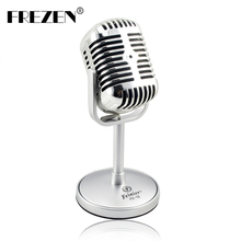 FREZEN Vintage Microphone Studio Wired Classic Retro Condenser Microphone Professional Old Style KTV MIC for Computer Laptop
