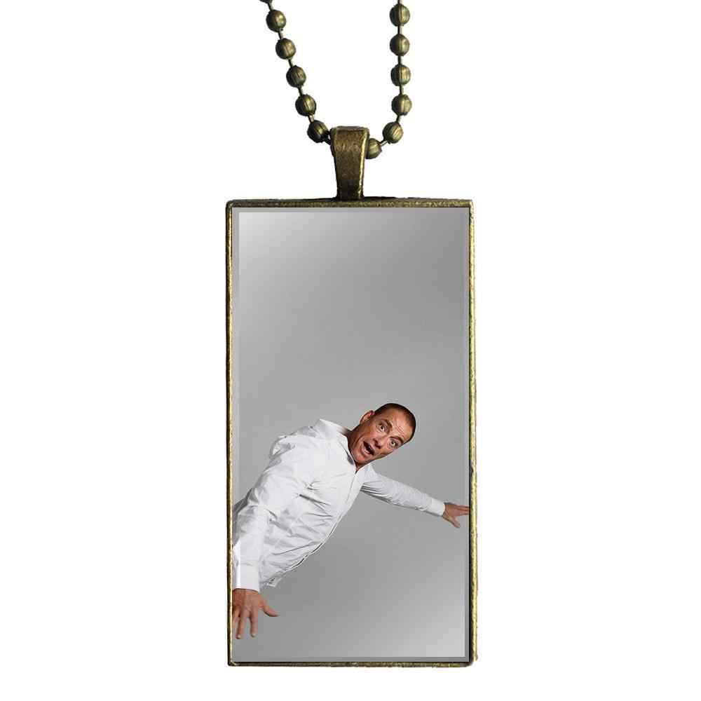 EJ Glaze For Women Men Jewelry With Bronze Plated Glass Cabochon Choker Long Pendant Rectangle Necklace Jean-claude Van Damme