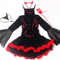 Halloween Sexy devil Costume club DS clothing Red black Dress+Headwear+Tool Long Sleeve Adult devil Princess Cosplay Costumes