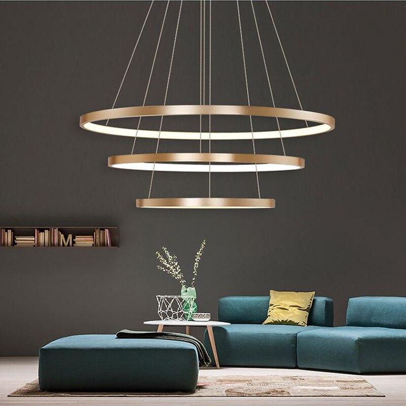 Фотография 40CM 60CM 80CM Modern Pendant Lights For Living Room Dining Room Circle Rings Acrylic Aluminum Body LED Ceiling Lamp Fixtures