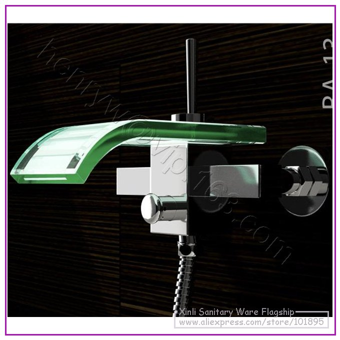 X8302BS - Luxury Deck Mounted Brass and Glass Material of Bath Shower Waterfall MixerX8302BS - Luxury Deck Mounted Brass and Glass Material of Bath Shower Waterfall Mixer