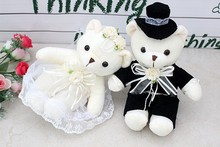 a pair of cute wedding dress couples happy bear doll car doll bed doll  wedding gift about 40cm