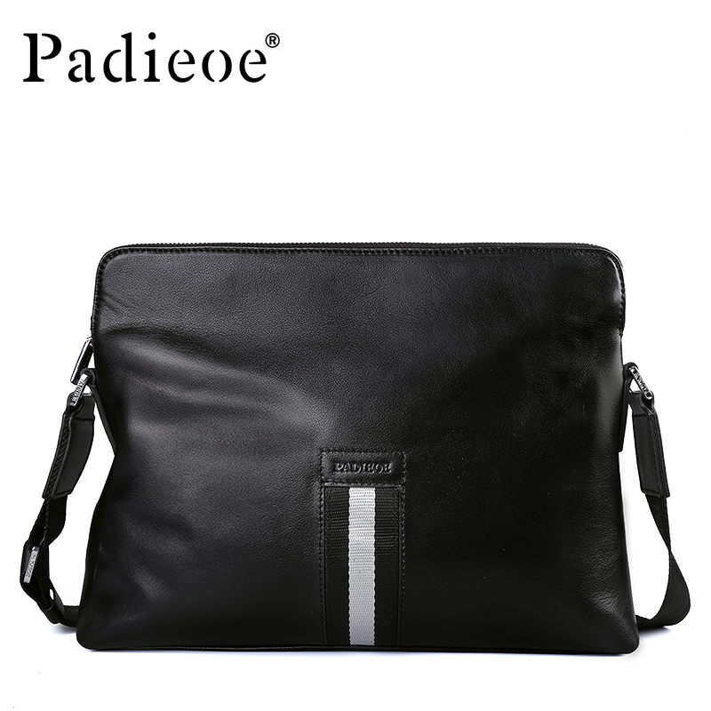 Padieoe Wholesale Luxury Genuine Cow Leather Men Handbag New Arrival Male Shoulder Crossbody Bag Business Man Casual Handbags padieoe new arrival luxury genuine cow leather men handbag business man fashion messenger bag durable shoulder crossbody bags