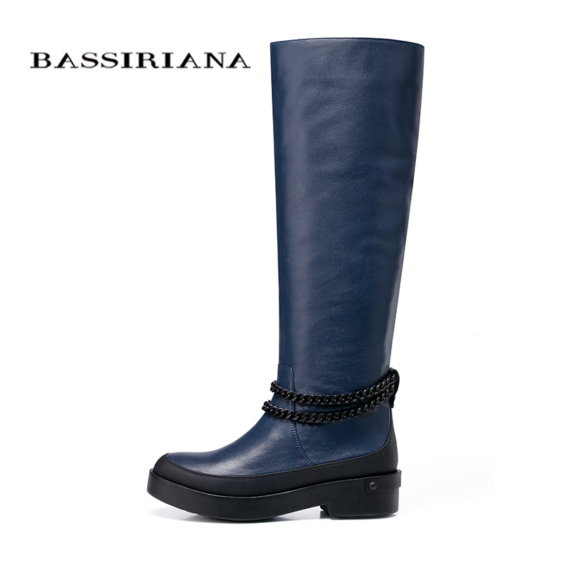BASSIRIANA genuine leather shoes woman Fashion New Arrival Knee-high boots Women Boots Black Blue  Autumn Free shipping цены онлайн