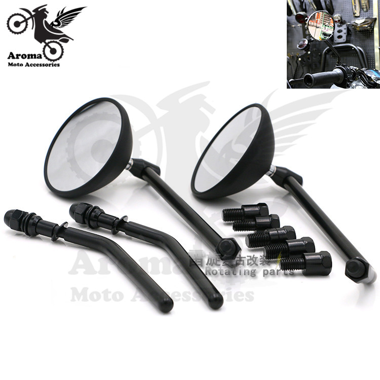 2 colors available carbon fibre color black retro moto side mirrors for suzuki honda yamaha harley motorcycle rearview mirror