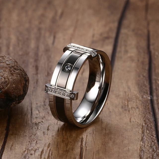 Mprainbow Mens Rings Stainless Steel Cubic Zirconia Crystal Engagement Wedding B