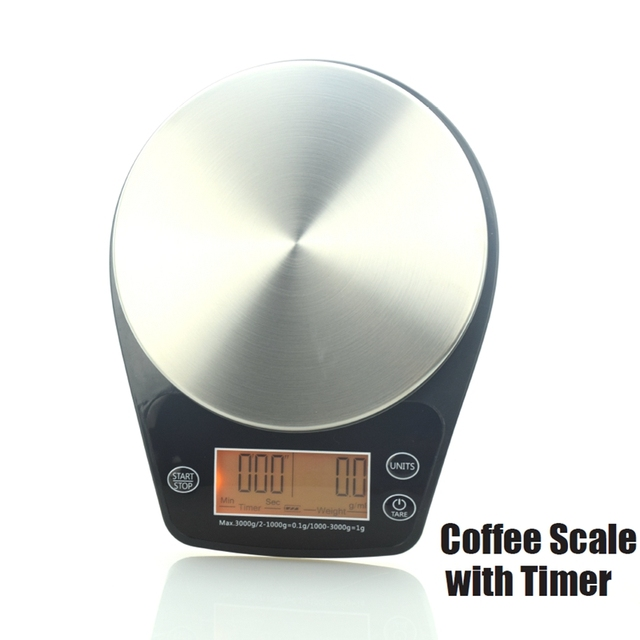 Free Shipping Mini V60 Coffee Drip Scale with Timer 0.1G to 3000G Kitchen Weighting American Coffee Accessories