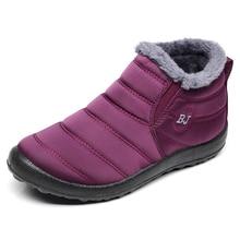 Mulheres Botas Manter Quente Sapatos de Inverno Mulher Botas Mujer À Prova D' Água Botas de Neve Com Pele do Inverno do Tornozelo Botas Femininas Plus Size 35-46