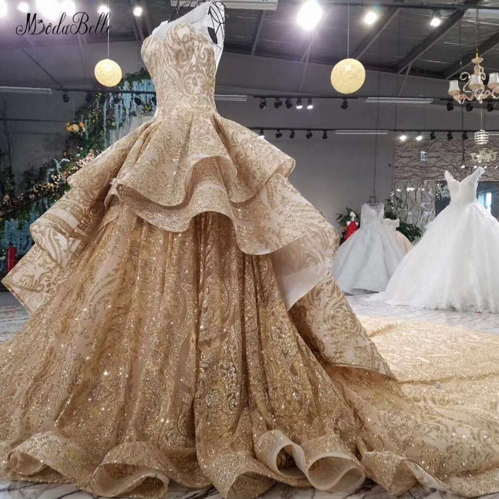 modabelle Elegant Gold Evening Dresses With Sequins Ball Gown Arabic Luxurious Evening Gowns 2018 font b