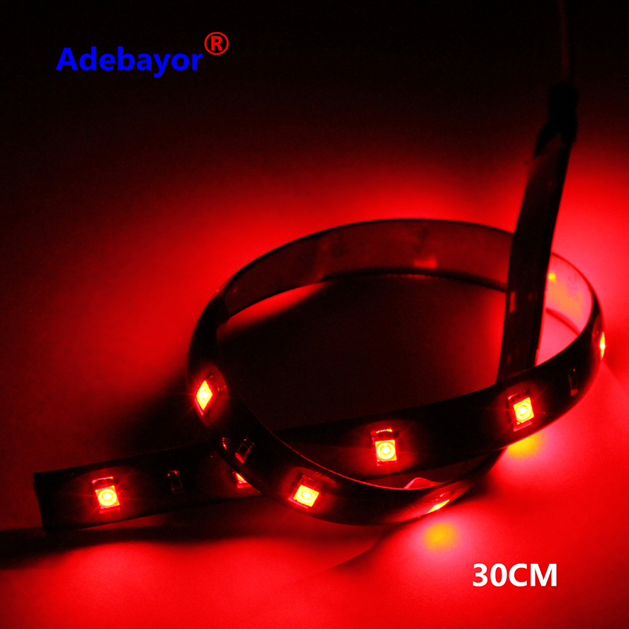 100 X 30CM led strips 3528 patch car 1210 smd 15 LED strip chassis soft article lamp traffic wheel light White red blue yellow