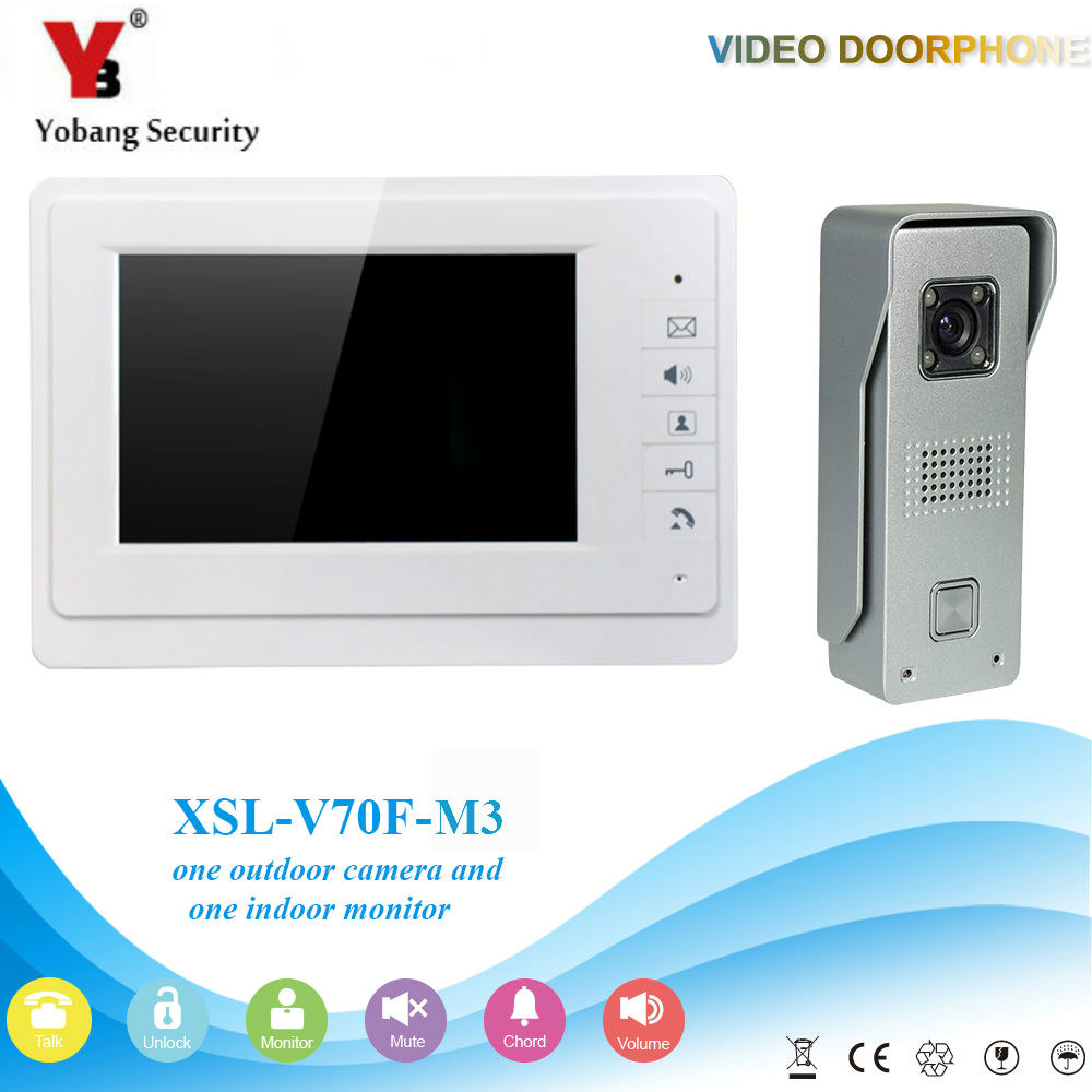 YobangSecurity 7Inch Door Viewer Video Doorbell Home Security Camera Monitor Intercom System Door Entry Kit with intercom system yobangsecurity video door intercom entry system 2 4g 9 tft wireless video door phone doorbell home security 1 camera 2 monitor
