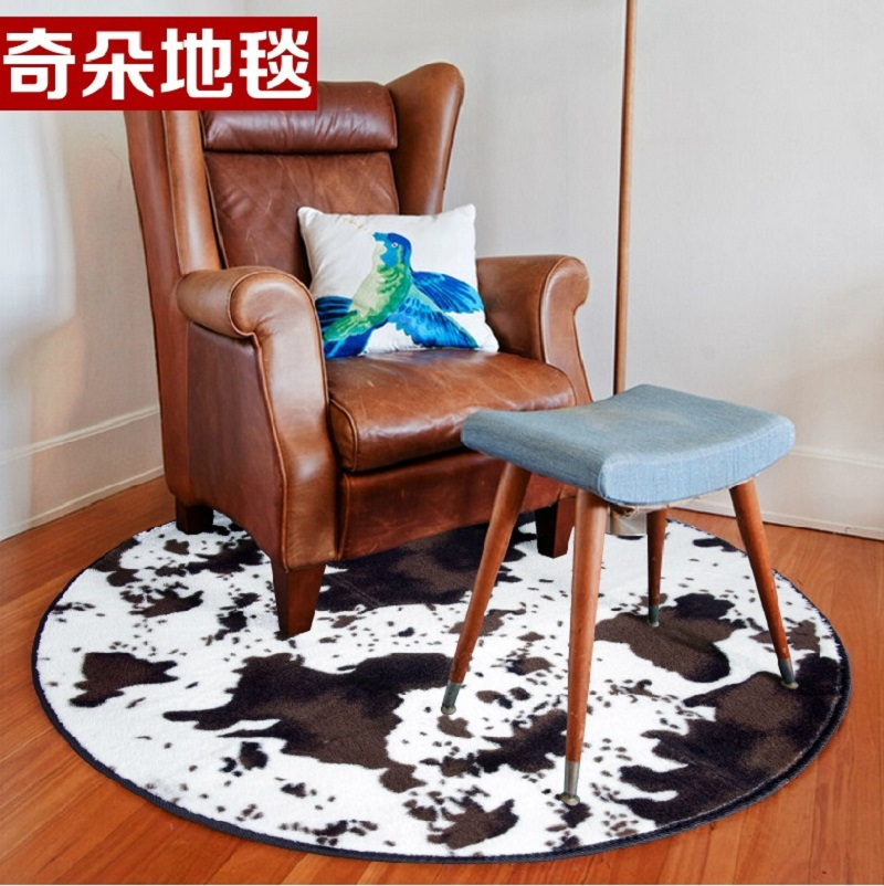 Round Cow fux skin print carpet slip-resistant Round Shape Carpet Floor Mats for Bedroom Living Room Short Plush Rugs