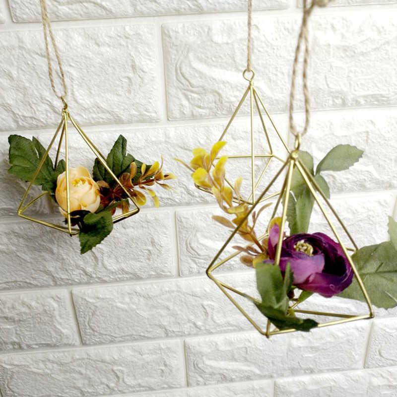 Terrário Caixa Moss Fern Independente de Suspensão Vaso de Flores Decoração Do Vintage Geométrica de Metal Vaso de flor Pot Rack de Tillandsia P20