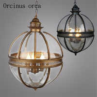 RH American Country Ball Glass Chandelier Living Room Cafe Bar Industrial Style Retro Iron LED Chandelier