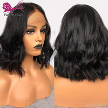 EAYON Remy Short Wavy 13x6 Lace Front Wig Bob Style Peruvian Hair Human Wigs Preplucked For Black Women