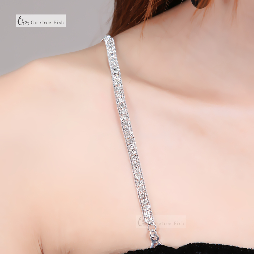 Accessories Adjustable Clear Crystal Belt Gorgeous Prom Diamante Rhinestone Bra Strap Party Evening Dress Underwear Women