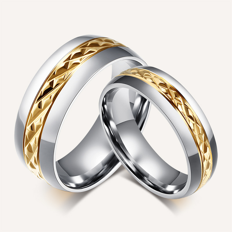 Two Color Lovers Ring Wedding Band Engagement Rings For Couples