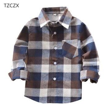 Promotion offre spéciale Garçons Chemises Classique décontracté À Carreaux Flanelle chemises Enfants Pour 3-11 Ans Enfants Garçon Porter