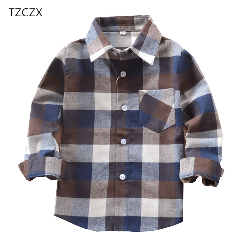 TZCZX-2020 Promotion Children Boys Shirts Classic Casual Plaid For 3-12 Years Kids Boy Wear