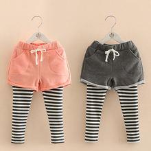 Детские длинные брюки Капри с карманами Корейская юбка кружевом
