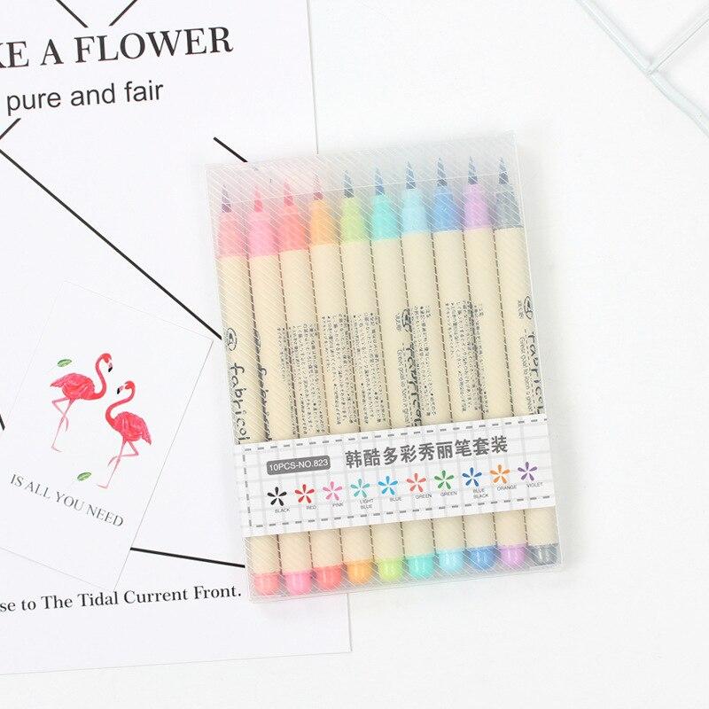 10 цветов Fabricolor набор кистей и ручек мягкий наконечник маркер ручка Цветная кисть каллиграфия тонкая цветная щетка войлочные художественные маркеры канцелярские принадлежности