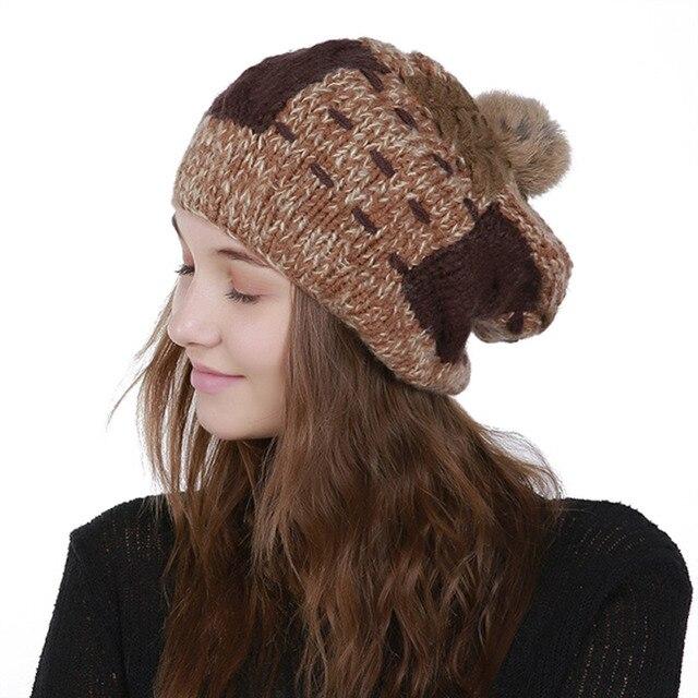 582b6d0dd6b Stuffed Old Rabbit Fur Ball Wool Hat 2018 New Handmade Hand-knitted Single  Layer Warm Women Winter Hat Acrylic Skullies Beanies
