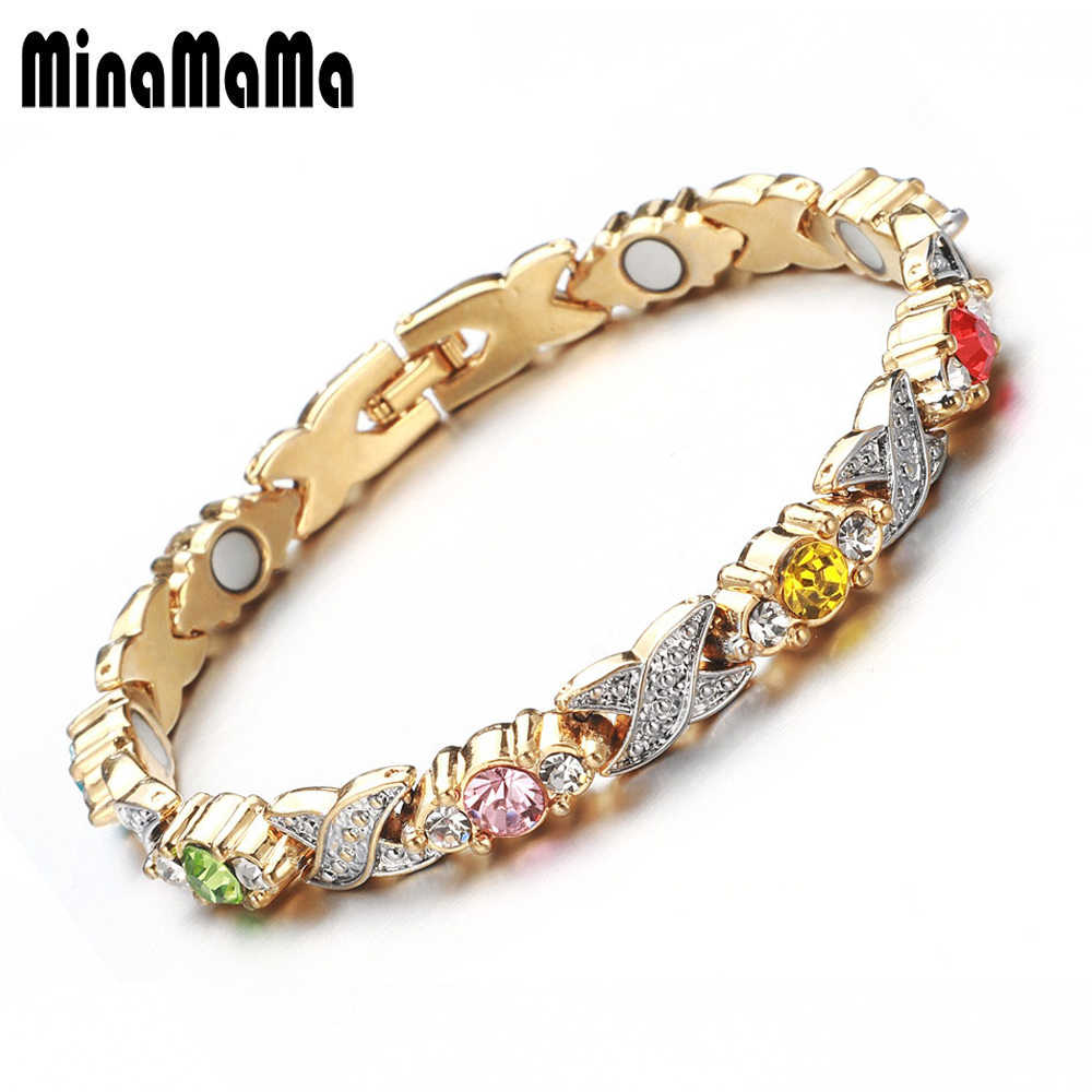 New Design Gold Color White Pink Colorful Crystal Magnetic Bracelets For Women Health Link Chain Bracelets Jewelry Gift