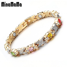 New Design Gold Color White Pink Colorful Crystal Magnetic Bracelets For Women Health Link Chain Jewelry Gift