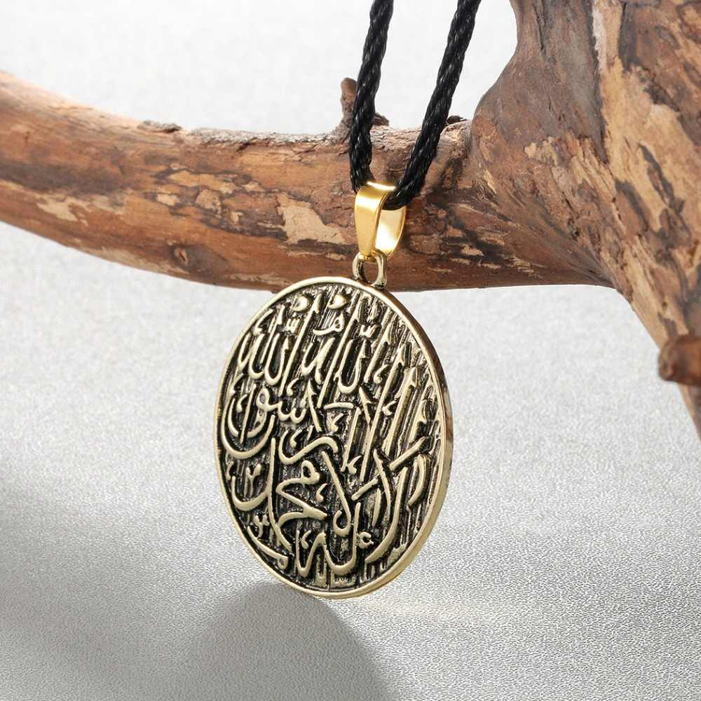 CHENGXUN アンティークアラビア語ネックレス女性男性イスラム教徒刻まシャハーダペンダントアッラーヴィンテージエスニックネックレスジュエリー