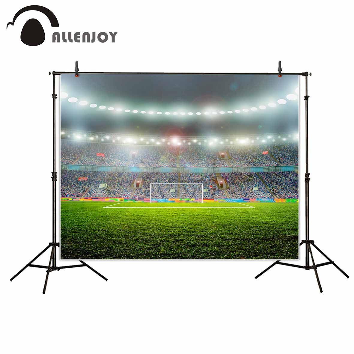 Allenjoy photo background football field Soccer game grass flags goal shiny background for photo for a photo shoot