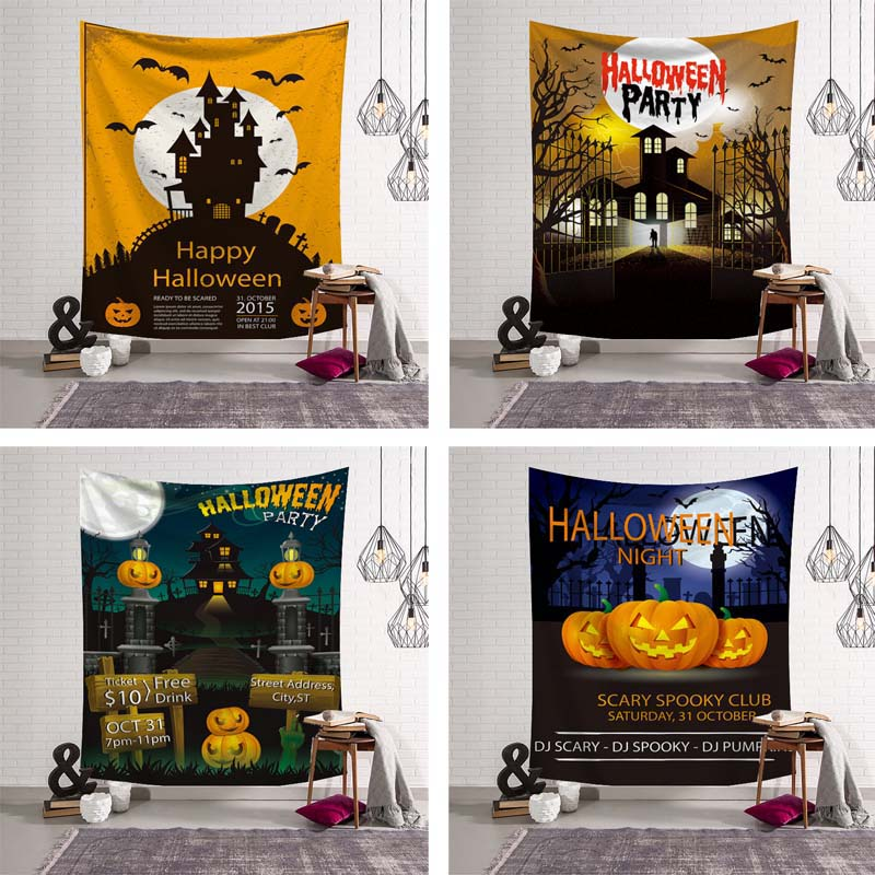 Large 3D Print Sugar Skull Halloween Decor Tapestry Happy Halloween Psychedelic Wall Hanging Door Ornament Party Supplies Cloth