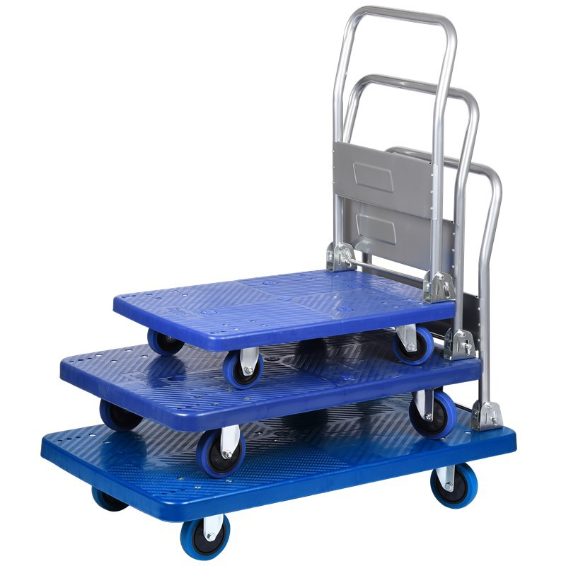 Flatbed Pushcart Foldable Silent Wheel Trolley Foldable Silent Trolley Pull Van Dynamic Load 150kgs silent treatment