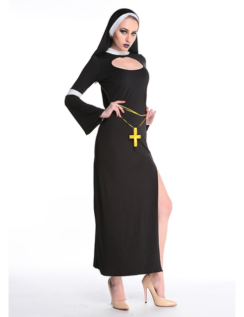 MOONIGHT Sexy Nun Costume Adult Women Cosplay Dress With Black Hood Halloween Costume Cosplay Party Costume 2