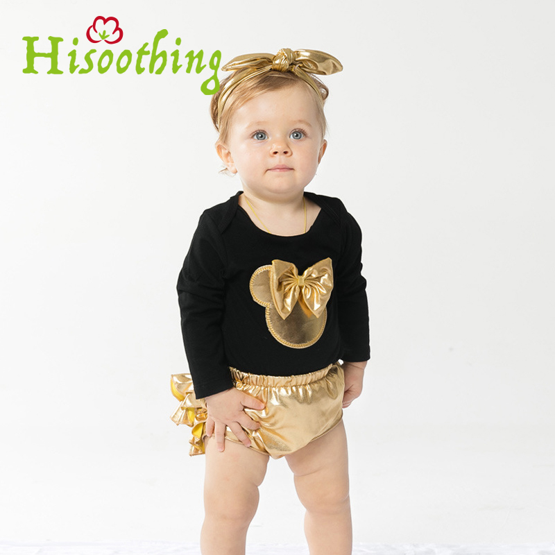 2018 Kazakhstan Clothing Golden Pp Pants Suit Jumpsuit Baby Fashion Time-limited Fashion Cotton Baby Girls Long sleeve romper baby baby 2018 new baby korean version striped pp pants suit