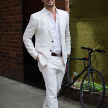 Latest Coat Pant Designs Ivory/White Linen Casual Men Suit 2018 Summer Beach Tuxedo Simple Custom Made 2 Piece Jacket mens suits(China)