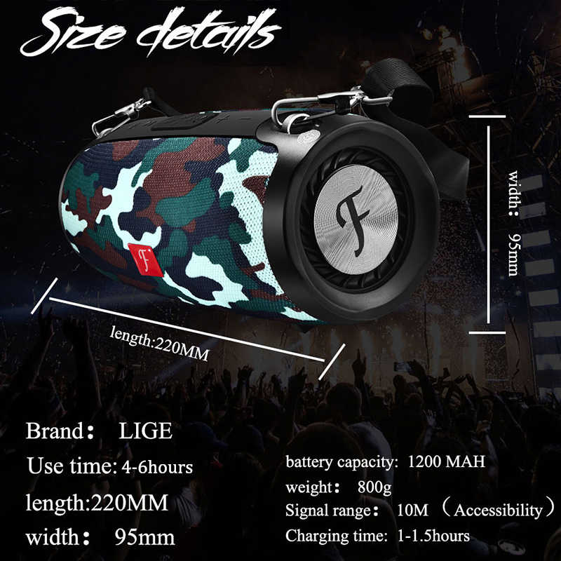 LIGE Portable wireless Bluetooth Speaker Stereo big power 20W system TF FM Radio Music Subwoofer Column Speakers for Computer