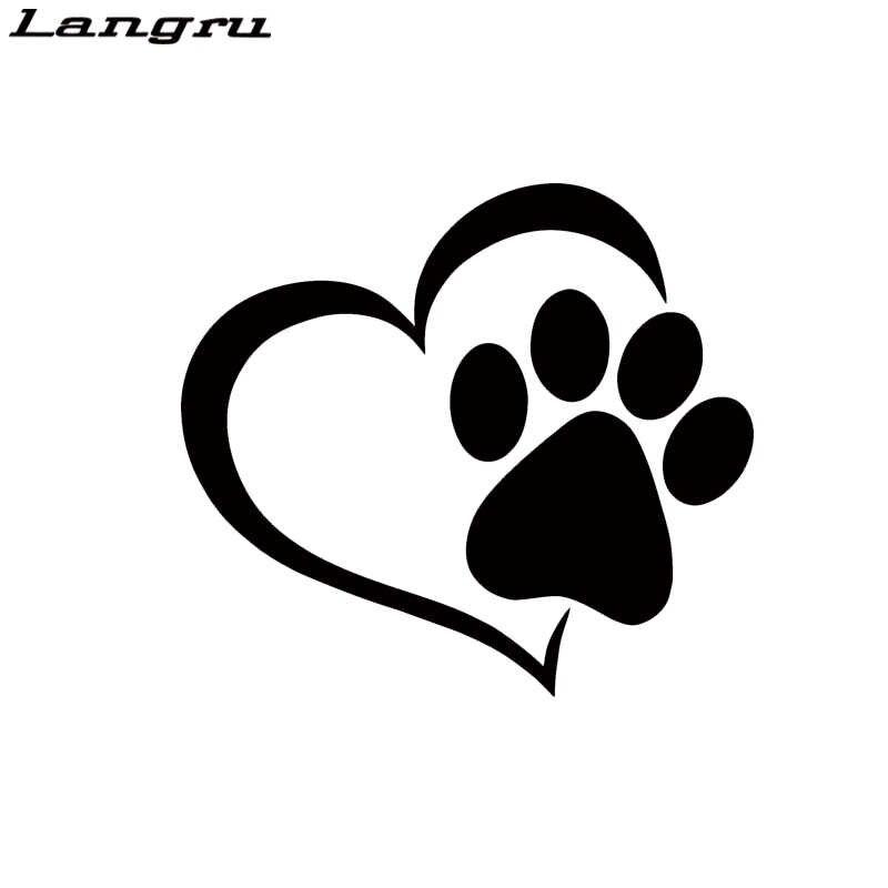 Langru 2017 Sıcak Satış Sevimli Pet Paw Kalp Köpek Kedi Araba Styling Vinil Çıkartma Aksesuarları dekoratif sticker JDM