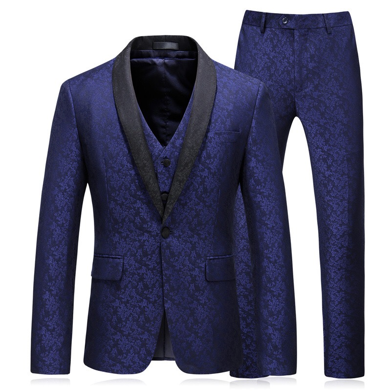 2019 New Design Mens Stylish  Blue Floral Pattern Suits Stage Singer Wedding Groom Tuxedo Costume