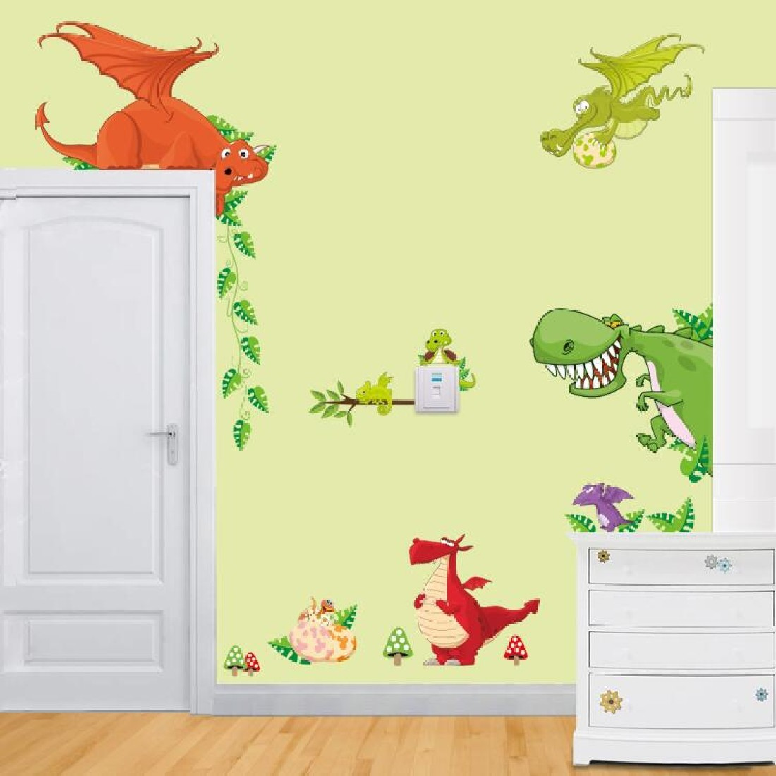 Zoo Dinosaurs Removable DIY Wallpaper Wall Sticker Decals Children ...