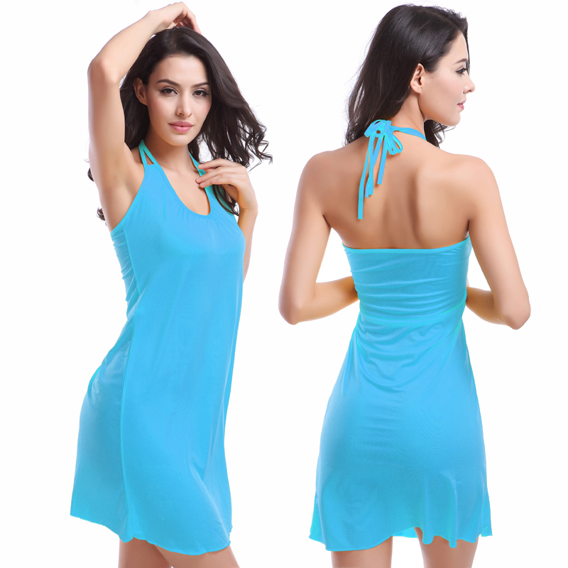 9494cc8e477d2 Hot Wholesale Double Spaghetti straps O neck Sexy Women Beach dress Comfort  Cover ups Plus size Beachwear S.M.L.XL