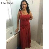 Uma linha de Chiffon Mãe dos Vestidos de Noiva com Luva Dos Três Quartos Andar de Comprimento Lace Frisada Appliqued