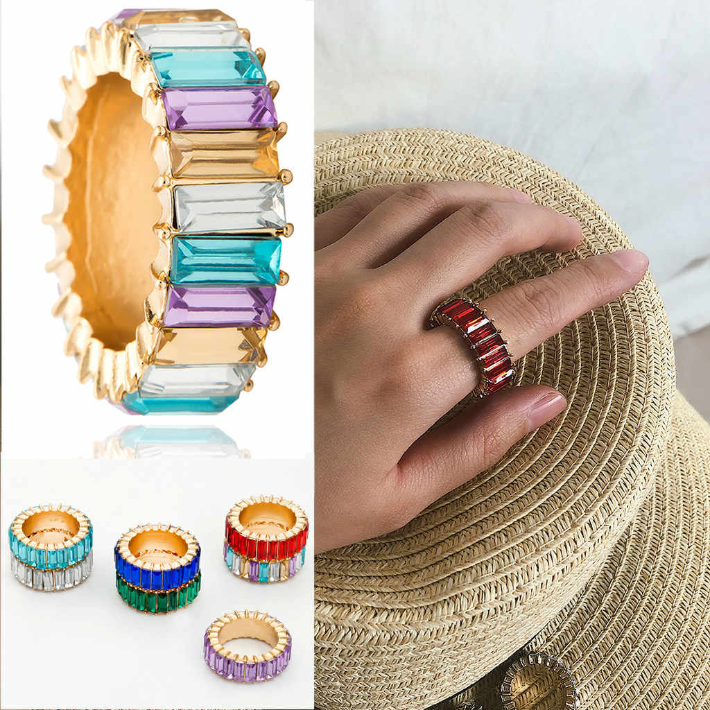 Rings for Women Exquisite Creative Hand Studded Geometric Rainbow Stone  Gift Anillos Mujer Elegant Rings Female Wedding Jewerly