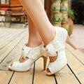 size 34-39 vintage style women small bowtie platform pumpsladies sexy high heeled shoesWedding Shoes for women Platform