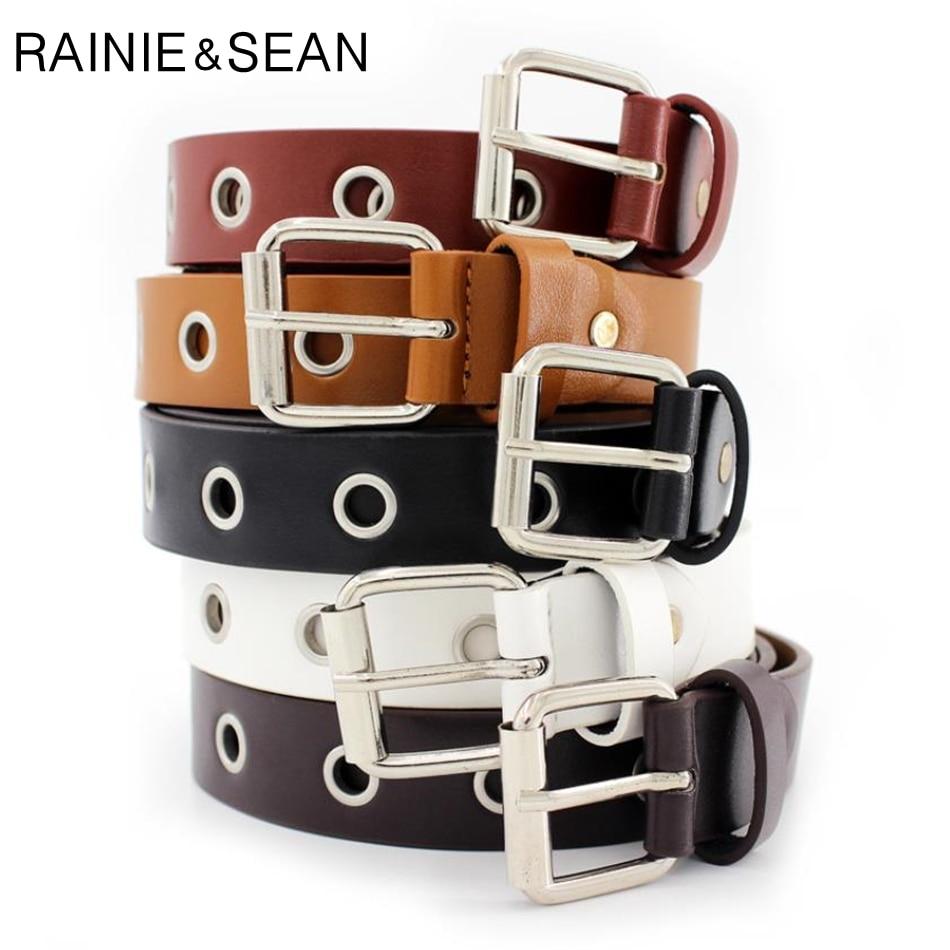 RAINIE SEAN Female Belt Buckles Leather Belts For Women Hollow Waist Belt For Trousers White Black Burgundy Ladies Waist Belt