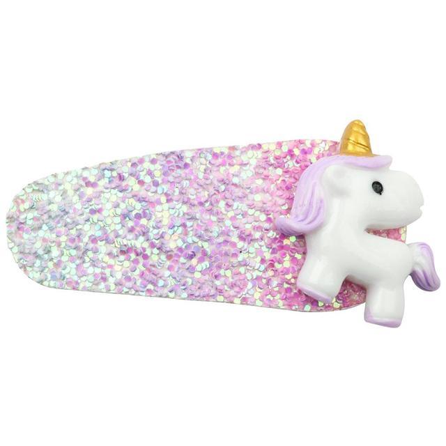 Rainbow Glitter Unicorn Design Girl's Hair Clip