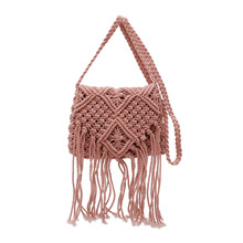 Womans cotton rope knitted bag Travel beach oblique Bag hollow straw Bohemian Bags for Women 2019 New fashion