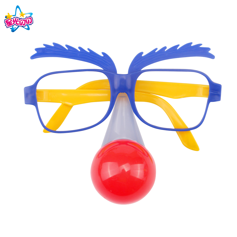 Red GlowingNose Clown  Fancy Dress Up Costume Party Props Fun Circus Clown Glasses Accessories Festive Party Supplies Decoration