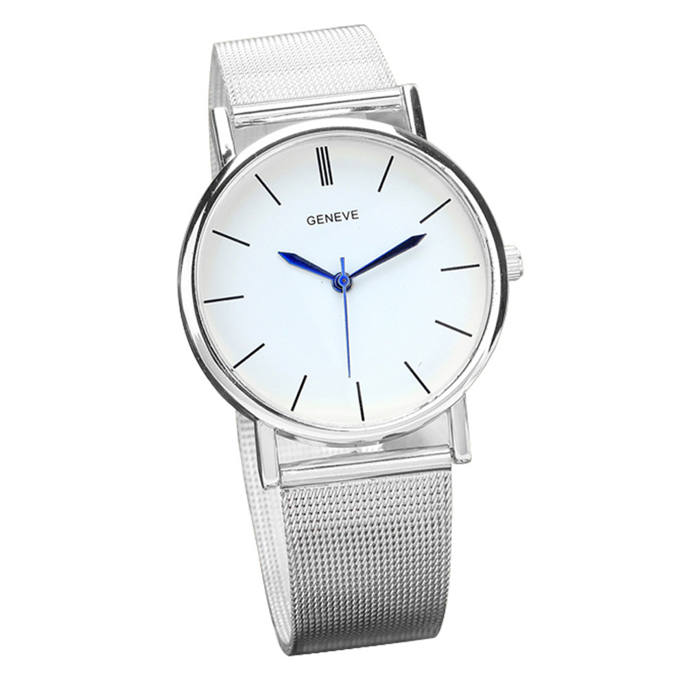 Geneve silver watch women stainless steel band quartz wrist watches casual men men s watch reloj